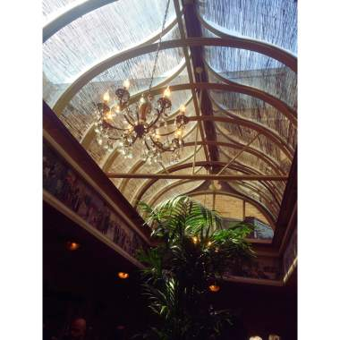 The beautiful glass ceiling inside the gift shop