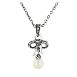 Freshwater pearl Silver Necklace $29